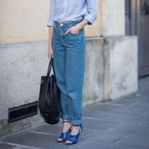 Vintage WEISHI Chambray Loose Mom Jeans M 4
